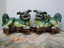 Antique Chinese Porcelain Foo Dog w/Cub Statues w/ Wooden Stands.Very Large Pair