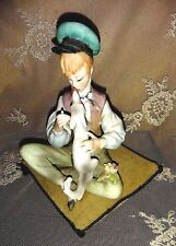 ANTIQUE  PORCELAIN BOY or GIRL & DOG BISQUE FIGURINE