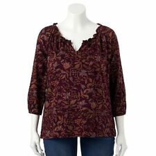 NWT $55 Chaps Women's 1X Peasant Top Blouse Shirt FLORAL Burgundy PLUS SZ  5215K