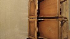 Vintage solid wood tan and leather 50's to 70's end tables with side wire grate