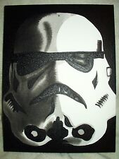 Canvas Painting Star Wars Stormtrooper Shadow Effect B&W 16x12 inch Acrylic