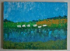 "A MODERNIST OIL PAINTING OF  ""SLAPTON LEY - TORCROSS - DEVON"" -  SIGNED"