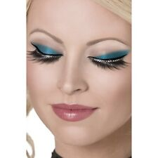 Glamour Black False Eyelashes w Diamante Beauty Fancy Long Natural Fake Crystal