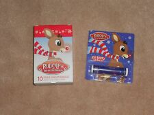 NEW, RUDOLPH THE RED NOSED REINDEER BANDAIDS + LIP BALM
