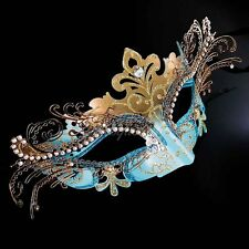 3D Laser Cut Mardi Gras Venetian Masquerade Mask for Women M7100 [Teal/Gold]