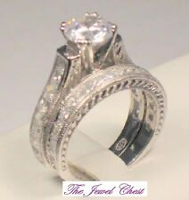 Round Princess cut Diamond Engagement Wedding Ring Set White Gold Vintage Style
