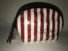 Victoria's Secret VS Red White Striped Sparkly Makeup Bag Cosmetics Pouch Mini