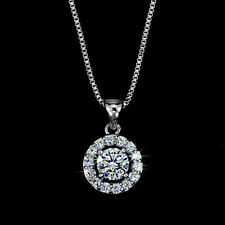 Hearts & Arrows 0.6 Carat Simulated Diamond Clear Round Pendant Necklace
