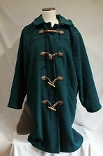 L L Bean Vintage Wool Duffle Coat Plaid Lined Teal Green Womens L Toggle Hooded