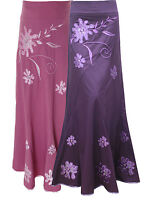 LOVELY LADIES PINK PURPLE EMBROIDERED LONG MAXI SKIRT UK SIZE 10 - SIZE 22