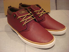 QUICKSILVER MEN'S GRIFFIN FG FULL GRAIN LEATHER RED SHOES SIZE 12 - BRAND NEW