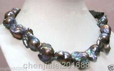 "18"" Genuine Natural 18-25mm Black Baroque Reborn Keshi Pearl Necklace"