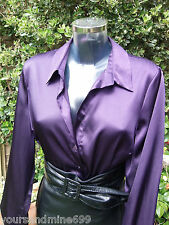 Glossy Satin MISTRESS Blouse Sz 18 Russian Violet GOVERNESS Top Shirt Tv CD