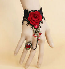 Vampire Gothic Wrist Strap Bracelet Classic Vintage Lace Rose Ring, costume