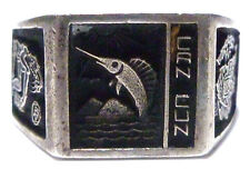 CANCUN MEXICO MENS VINTAGE AZTEC MARLIN FISH STERLING SILVER SHIELD RING SZ 11