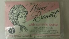 Vintage Wind Bonnet! Nylon With Carrying Purse! Unique old hard to find Item!