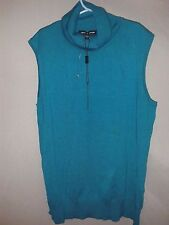 CABLE & GAUGE M TEAL OCEAN BLUE TURTLE NECK SWEATER NWT SLEEVELESS RAYON BLOUSE