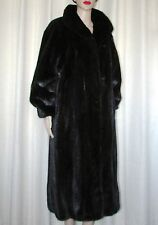 VINTAGE BEAUTIFUL BLACK MINK FUR COAT SZ LARGE  BUST 44