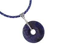 Lapis Lazuli Donut Artisan Pendant Necklace 35mm PB19 Blue Leather Braid Cord