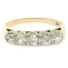 Antique 14k Two Tone Gold .80ctw Old European Cut Diamond Wedding Band Ring Sz 6