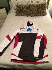 Men's Medium Columbia Bugaboo Jacket with Omni-tech Liner. Black, Red, and White
