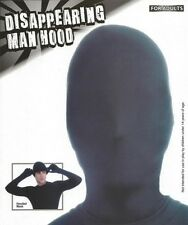 Adult Disappearing Man Hood Black Faceless Mask Morph No Face Costume - Fast -