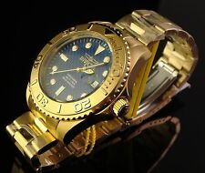 NEW MENS INVICTA STUNNING SWISS 47MM PRO DIVER 18K GOLD PLATED W SLEEK BLUE DIAL