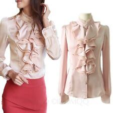 Winter Silky Ladies Blouse Long Sleeve Top Lace Collar Ruffle Satin Shirt Size
