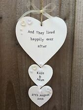 Handmade Personalised Wooden Plaque Sign Heart Wedding Engagement Present Gift