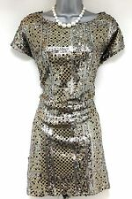 Stunning River Island silver & gold sequin shift evening occasion Dress Size 12