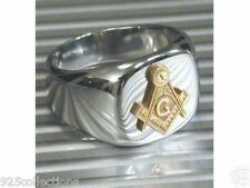 925 Sterling Silver Two Tone No Stone Free Mason Masonic Men Ring Size 7