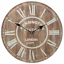London Kensington Station Vintage Urban Rustic Prints Decorative Wall Clock 13""