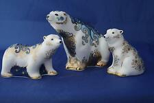 ROYAL CROWN DERBY AURORA POLAR BEAR AND CUBS BORIS AND ALICE L/E PAPERWEIGHTS