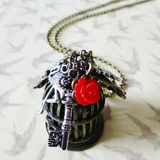 ANTIQUE BRONZE BIRDCAGE KEY LOVE RED ROSE RABBIT ALICE CLUSTER CHARM NECKLACE