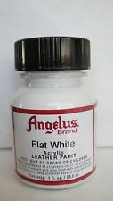 Angelus Flat White acrylic leather paint 1 oz. bottle