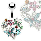 Surgical Steel Heart Flower and Butterfly Belly Bar / Navel Ring