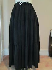 SUEDED RAYON- 3 TIERED SKIRT VICTORIAN -PLUS SIZE-BLACK, SAGE