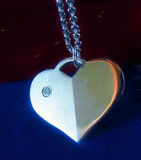 Sterling Silver 925  small Genuine Diamond stone Heart necklace 8.1g w/ box old