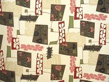 Atomic Hawaiian 100% Cotton Barkcloth Upholstery FABRIC ~Daddy-O-Natural~