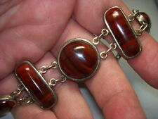 STERLING SILVER 925 ESTATE WK WHITNEY KELLY RED AGATE 7.5 INCH BRACELET