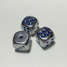 2pcs 16mm Plating Dice Blue Pips Dice For Board game and other Games Accessories