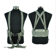 Tactical Molle Combat Waist Padded Belt Cross with H-shaped Suspender ACU