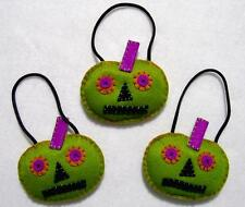 SET OF 3 HAND~CRAFTED FREAKY FELT PUMPKIN HALLOWEEN TREE ORNAMENTS