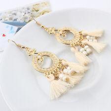 Women Vintage Boho Bohemian BEIGE Tassle Long Dangle Drop Hoop Hook Earring GOLD