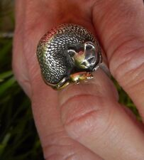 JAMES YESBERGER STERLING SILVER CAT RING WITH 18 KT MOUSE HUGE DIMENSIONAL RARE