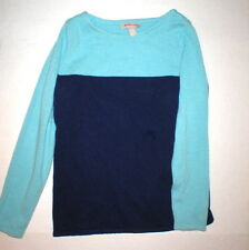 New Womens L Banana Republic Wool Cashmere Blue Color Block Sweater Top NIce