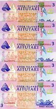 LOT, Cook Islands, 5 x $3, 1992, P-7, UNC