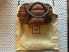 FENDI Camel Baby Spy Double Handle Leather Bag