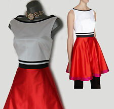 Karen Millen White/Red Satin Feminine Color Block Formal Dress sz-16/44 £195