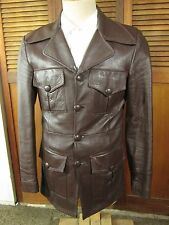 Mens vintage  Leather Jacket,Car Coat size Small (36) 1970's Button Front Nice